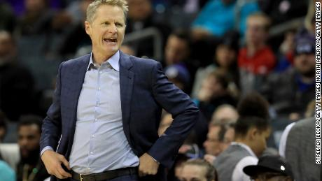 Steve Kerr watches on during the Warriors' game against the Charlotte Hornets on December 4.