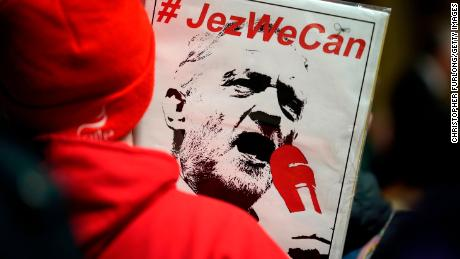 Supporters listen to Labour leader Jeremy Corbyn during a campaign event in Wales on December 08.