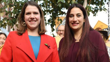 Liberal Democrats leader Jo Swinson, left, is greeted by the party's candidate for Finchley and Golders Green, Luciana Berger, in the north London constituency on November 6.