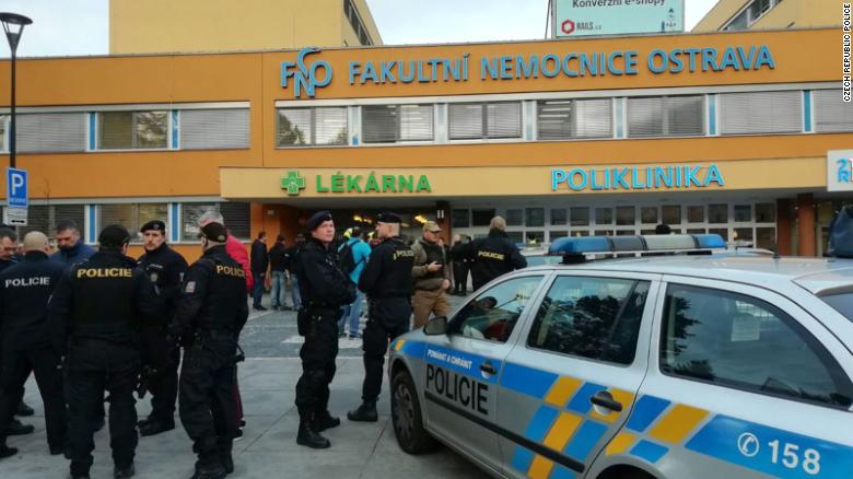 Czech police at the scene of a shooting at a hospital in the city of Ostrava.