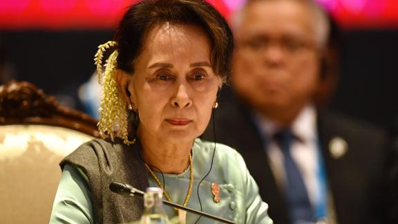 Myanmar's State Counsellor Aung San Suu Kyi attends the 22nd ASEAN-Japan Summit in Bangkok on November 4, 2019, on the sidelines of the 35th Association of Southeast Asian Nations (ASEAN) Summit. (Photo by Lillian SUWANRUMPHA / AFP) (Photo by LILLIAN SUWANRUMPHA/AFP via Getty Images)