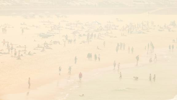 A smoke haze blankets Bondi Beach as the air quality index reaches higher than ten times hazardous levels in some suburbs of Sydney on December 10.