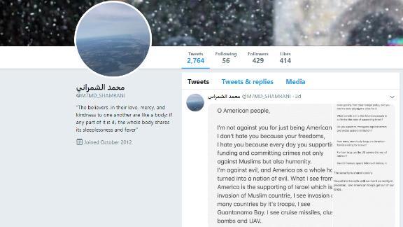 Shamrani's final tweet before his lethal shooting spree last week.