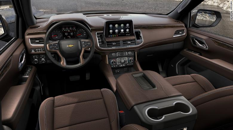 The Tahoe and Suburban are available with a 10-inch touchscreen and a 15-inch head-up display which projects information in the SUV's windshield.