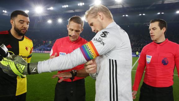 Leicester City's goalkeeper Kasper Schmeichel wears a rainbow themed captain's armband.