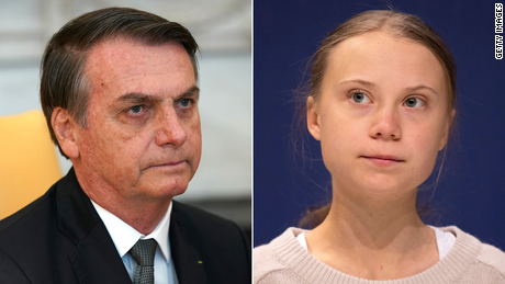 Greta Thunberg labeled a 'brat' by Brazilian President Jair Bolsonaro