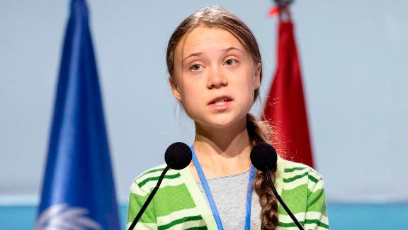 Thunberg gives a speech at the COP25 Climate Conference in Madrid on Wednesday.