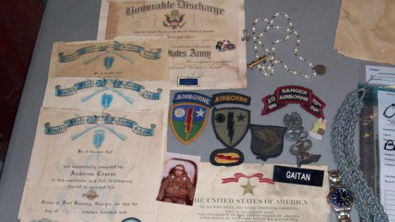 Blas Gaitan was killed in 2002. With him when he died were his patches, pins and military documents, including a Bronze Star certificate, officials said.