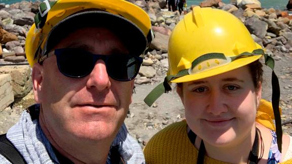 Geoff and Lillani Hopkins prior to the volcano eruption on White Island on Monday December 9.