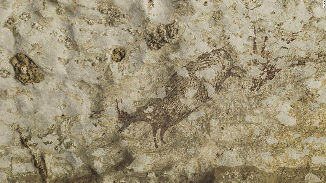 Setengah hewan, setengah-manusia hibrida digambarkan pada tertua ditemukan di gua seni