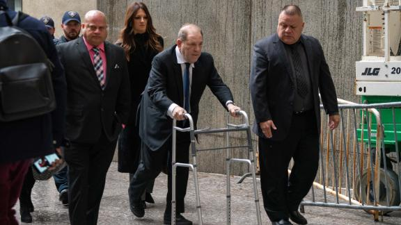 Movie producer Harvey Weinstein arrives at criminal court on Wednesday in New York City.