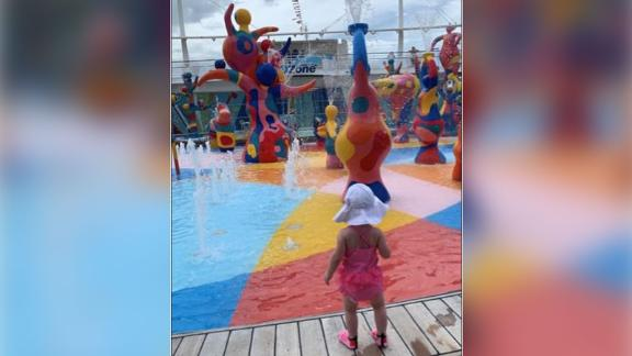 A photo of Chloe Wiegand released in the lawsuit filed against Royal Caribbean by the family shows the toddler on the same deck from which she later fell.