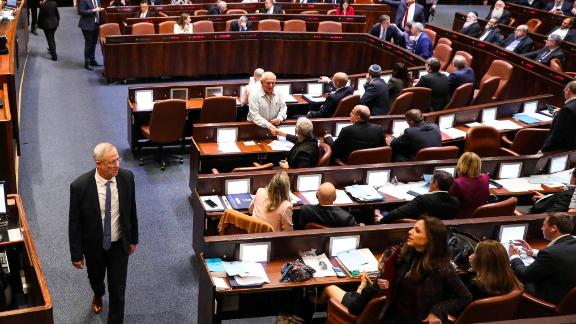 Israeli Kahol Lavan (Blue and White) political alliance leader Benny Gantz pictured during a session of the Knesset in Jerusalem on December 11, 2019.