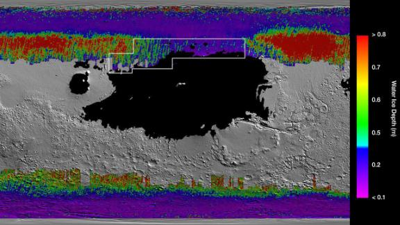 This rainbow-colored map shows underground water ice on Mars. Cool colors reveal ice close to the surface. The black region is where a lander might sink into Mars