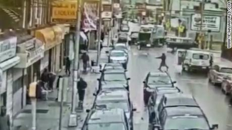 Surveillance video shows the scene of the deadly Jersey City shooting targeting a Kosher market.
