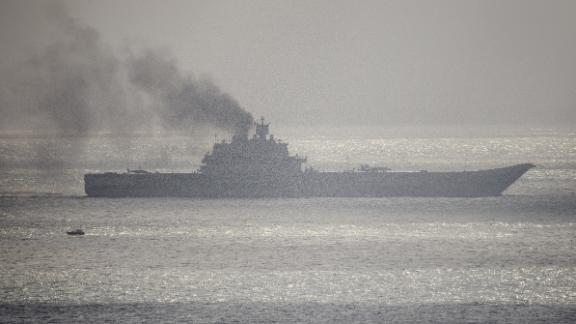 Admiral Kuznetsov passes through the English Channel in October 2016 on its way to the Mediterranean.