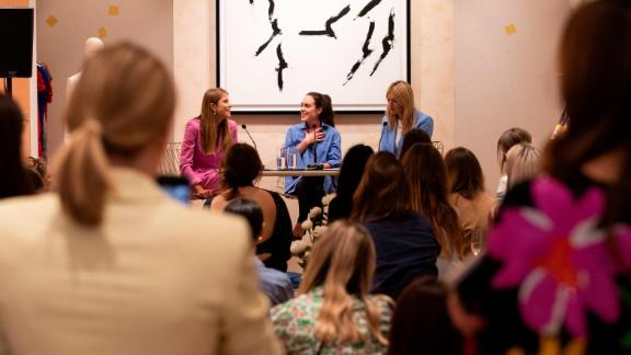 Podcast hosts Camille Charriere and Monica de La Villardier speak at the ESCADA X Fashion no Filter Podcast on June 06, 2019 in London.