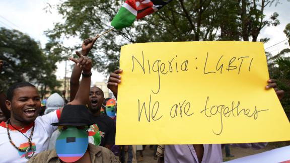 Kenyan gay and lesbian organizations demonstrate Nigeria