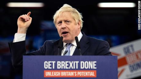 LONDON, ENGLAND - DECEMBER 11: Britain's Prime Minister Boris Johnson speaks to supporters at the Copper Box Arena on December 11, 2019 in London, United Kingdom. Boris Johnson spent the final day of the general election campaign visiting constituencies from West Yorkshire to Wales, trying to persuade voters to elect Conservative MPs and give him a governing majority to secure his Brexit deal. (Photo by Leon Neal/Getty Images)