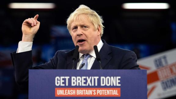 Boris Johnson speaks to supporters in London on Wednesday.