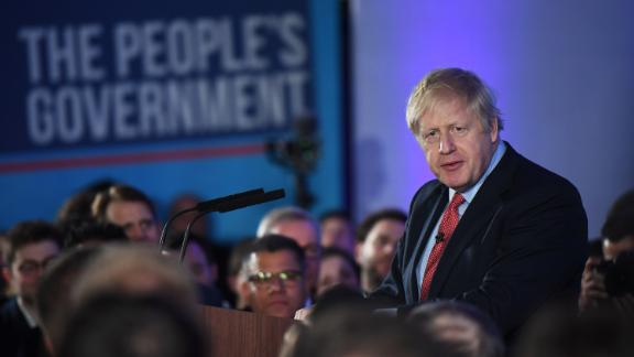 British Prime Minister Boris Johnson speaks to supporters after his thumping election win.