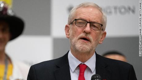 LONDON, ENGLAND - DECEMBER 13: Labour Party leader Jeremy Corbyn (R) addresses the media and supporters at Sobell leisure centre after retaining his parliamentary seat on December 13, 2019 in London, England. Labour leader Jeremy Corbyn has held the Islington North seat since 1983. The current Conservative Prime Minister Boris Johnson called the first UK winter election for nearly a century in an attempt to gain a working majority to break the parliamentary deadlock over Brexit. The election results from across the country are being counted overnight and an overall result is expected in the early hours of Friday morning. (Photo by Leon Neal/Getty Images)