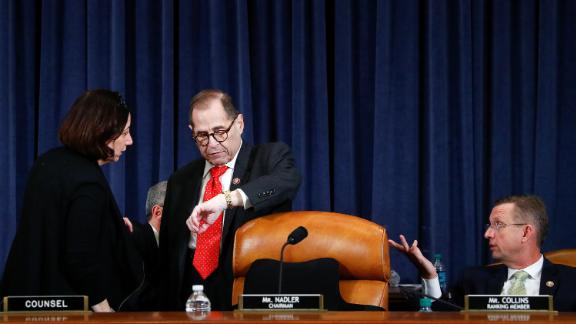 Committee Chairman Jerome Nadler (D-N.Y.) speaks to a congressional staff member during a brief recess, as the House Judiciary Committee holds its markup of articles of impeachment against U.S. President Donald Trump on Capitol Hill in Washington, U.S., December 12, 2019. REUTERS/Tom Brenner