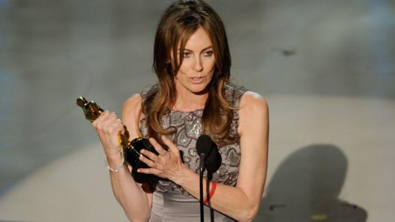"""Director Kathryn Bigelow accepts Best Director award for """"The Hurt Locker"""" onstage during the 82nd Annual Academy Awards held at Kodak Theatre on March 7, 2010 in Hollywood, California."""