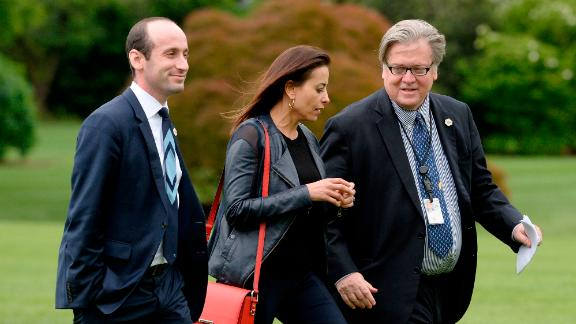 Stephen Miller and Steve Bannon, here with deputy National Security Adviser Dina Powell in 2017, both ended up working for President Trump.