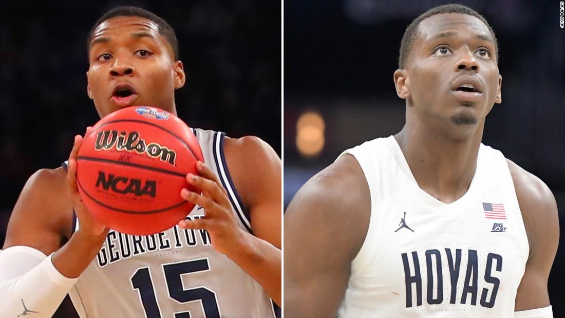 二つのジョージタウンの告発したバスケットボールプレーヤーに転送