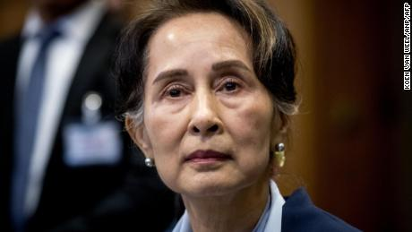 Myanmar's State Counsellor Aung San Suu Kyi looks on before the UN's International Court of Justice on December 11, 2019 in the Peace Palace of The Hague, on the second day of her hearing on the Rohingya genocide case.