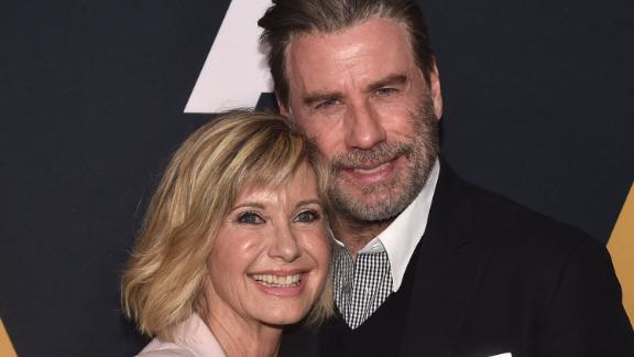 "Olivia Newton-John and John Travolta reunite for a ""Grease"" sing-along in West Palm Beach, Florida."