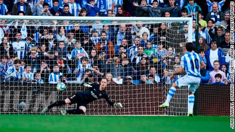 Mikel Oyarzabal puts Real Sociedad ahead from the penalty spot.