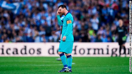 Lionel Messi trudges off after Barcelona's draw with Real Sociedad
