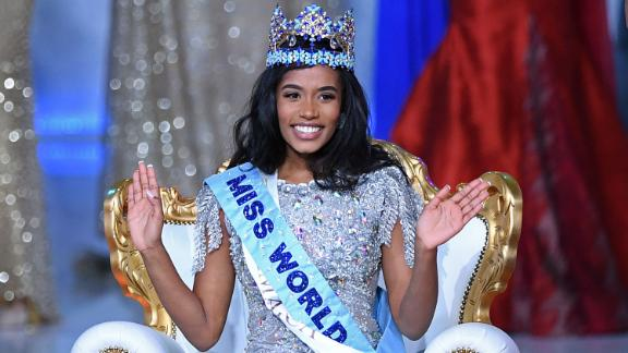 Newly crowned Miss World 2019 Miss Jamaica Toni-Ann Singh smiles during the Miss World Final 2019 at the Excel arena in London on December 14, 2019.