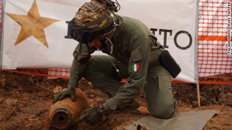 Specialists from the Italian army were called in to dispose of the bomb.