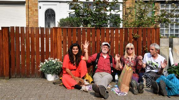 XR activists, including David Lambert, protesting outside Jeremy Corbyn's home.