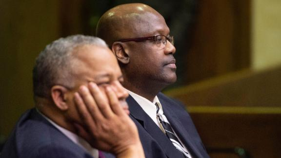 Curtis Flowers, right, sits with attorney Henderson Hill during Monday's bond hearing in Winona, Mississippi.