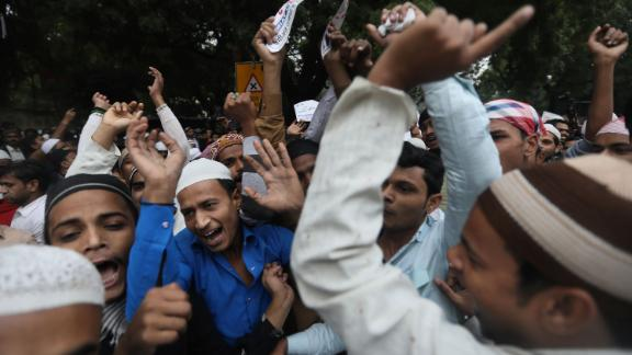 Indian Muslims demonstrate against the bill in New Delhi on December 13.