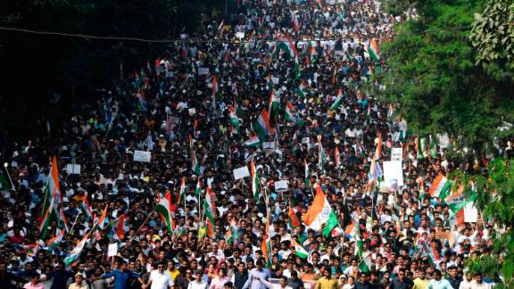 People participate in a mass rally in Kolkata, India, on December 16.