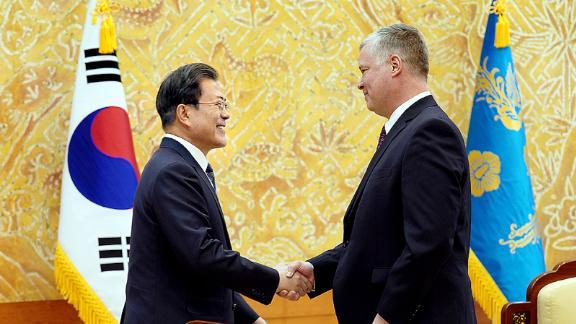 South Korean President Moon Jae-in and Special Representative for North Korea Stephen Biegun on December 16, 2019 in Seoul, South Korea.
