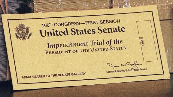 An official ticket to watch the impeachment trial of US President Bill Clinton.