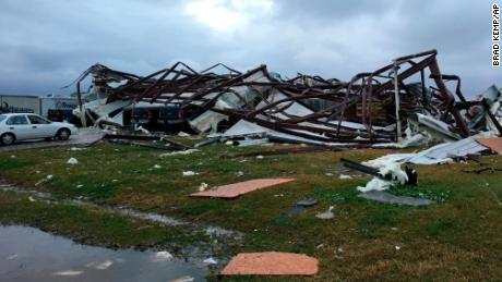 A building in Alexandria, Louisiana, damaged by a tornado on Monday.