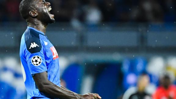 Artist Simone Fugazzotto said his work was inspired by the racist abuse directed at Napoli's Senegalese defender Kalidou Koulibaly in an Italian soccer game.