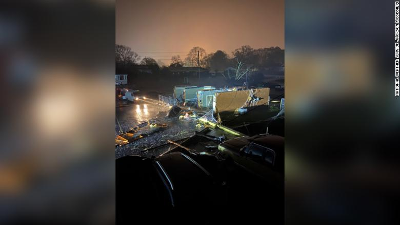 Tornadoes touched down in central Mississippi, damaging buildings