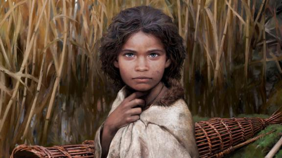 This is an artistic reconstruction of Lola, a young girl who lived 5,700 years ago.