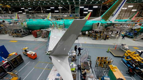 RENTON, WA - MARCH 27: A Boeing 737 MAX airplane is pictured on the company's production line on March 27, 2019 in Renton, Washington. In the wake of two 737 MAX 8 airliner crashes the company was holding meetings to update those in the aviation industry on software updates and additional pilot training. (Photo by Stephen Brashear/Getty Images)