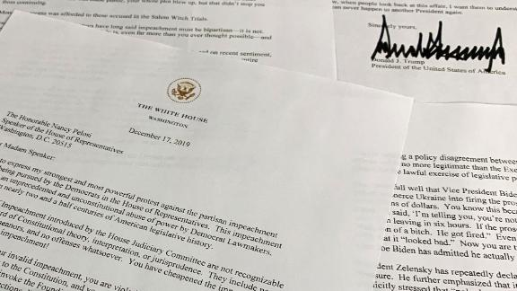 A letter from President Donald Trump to House Speaker Nancy Pelosi of Calif., is photographed Tuesday, Dec. 17, 2019, in Washington. (AP Photo/Jon Elswick