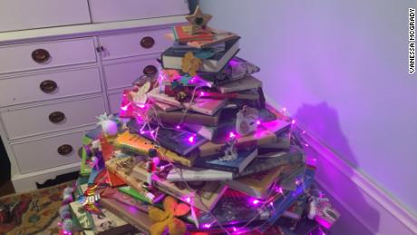 "Writer Vanessa McGrady's ""book tree."""