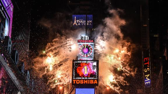 Fireworks explode in Times Square on December 31, 2018.